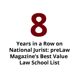 Infographic: 8 Years in a Row on National Jurist: preLaw Magazine's Best Value Law School List