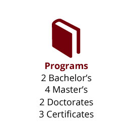 Infographic: Programs: 2 Bachelor's, 4 Master's, 2 Doctorates, 3 Certificates
